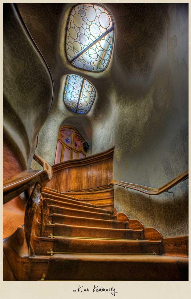 casa batllo barcelona. Staircase at Casa Batllo in