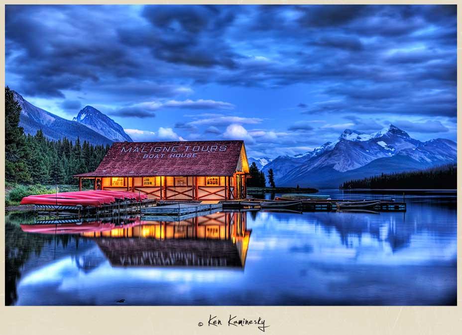 Maligne Lake Boathouse at dusk, Jasper National Park
