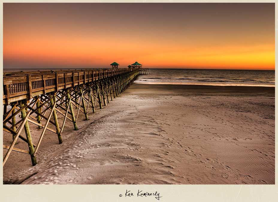 A Serene Sunset At Folly Beach In South Carolina