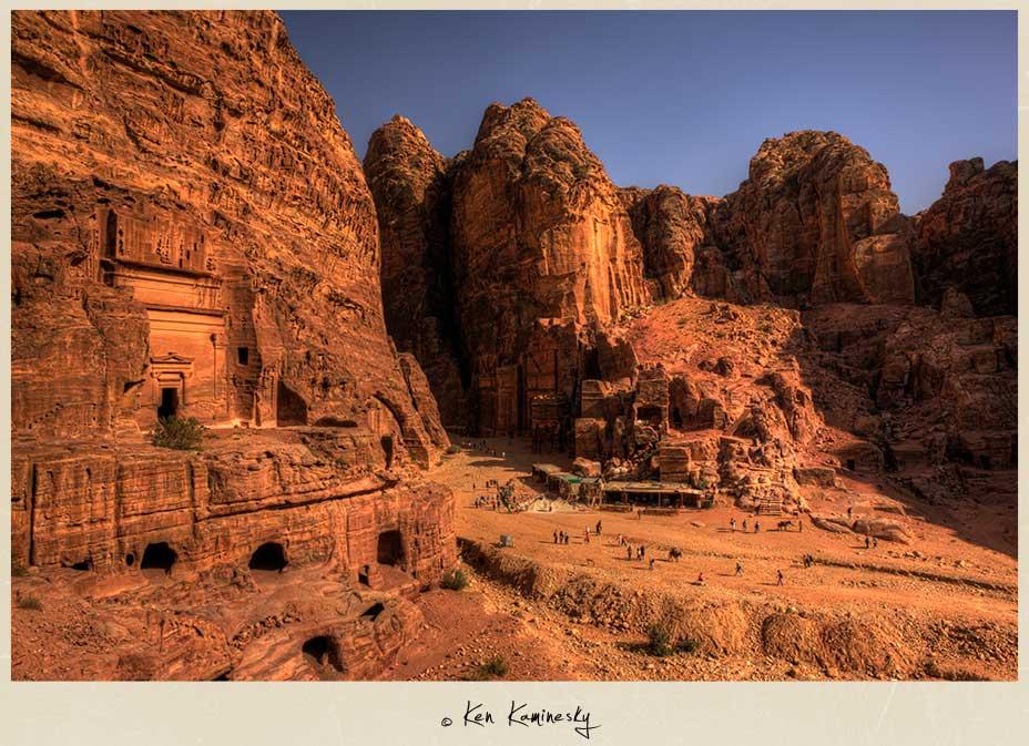 Tourists walking through Petra
