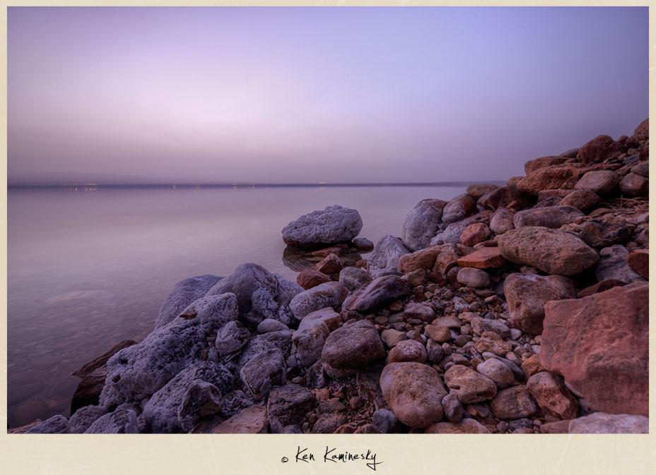 The Dead Sea at dusk in Jordan