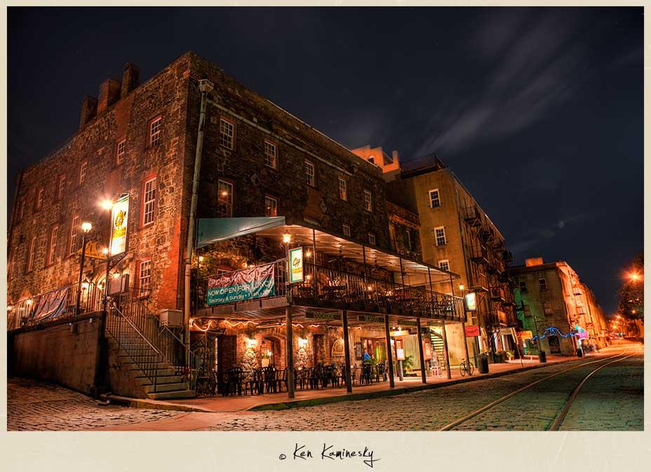 River Street at Night in Savannah