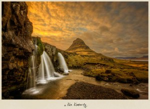Waterfalls near Kirkjufell mountain at Grundarfjorour