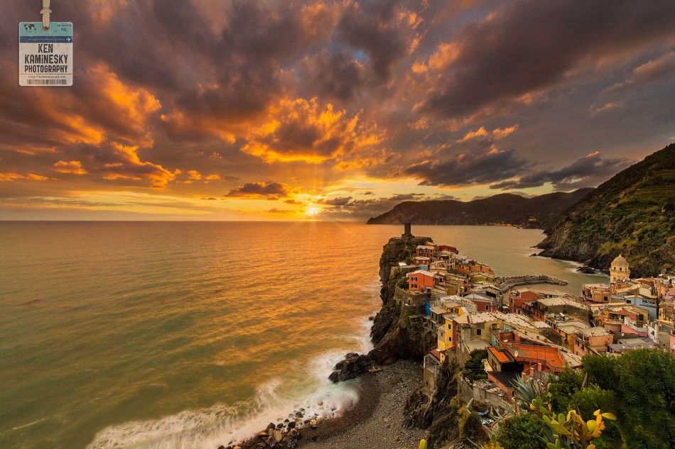 Image of Vernazza, Italy was edited using a blend of several exposures including one shot with a 3 stop IRND ND filter