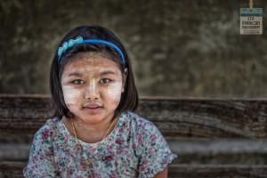 Burmese girl with Thanaka on her face