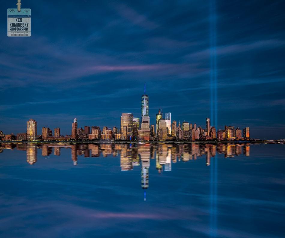 The 9/11 memorial lights in New York City